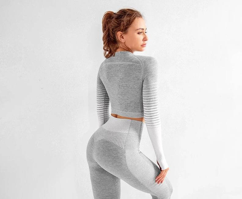 Astoria ENERGY Sleeved Crop - Grey/White