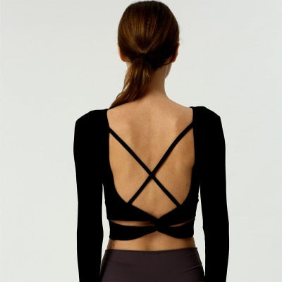 Astoria Ribbed Open-Back Crop - Black
