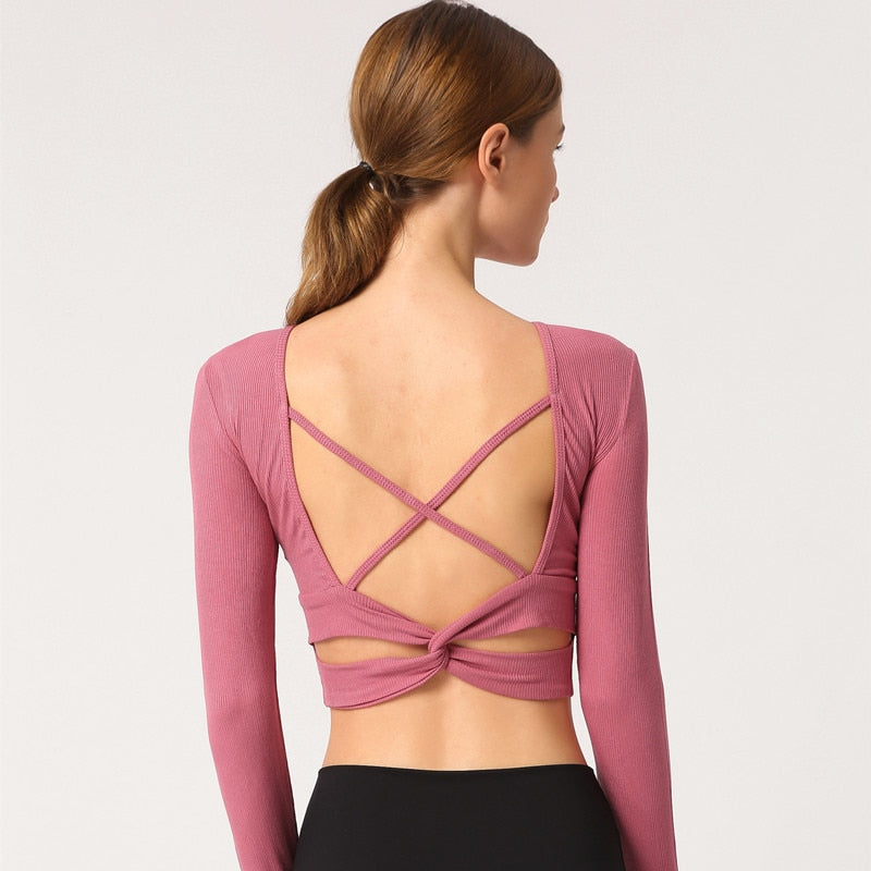 Astoria Ribbed Open-Back Crop - Pink