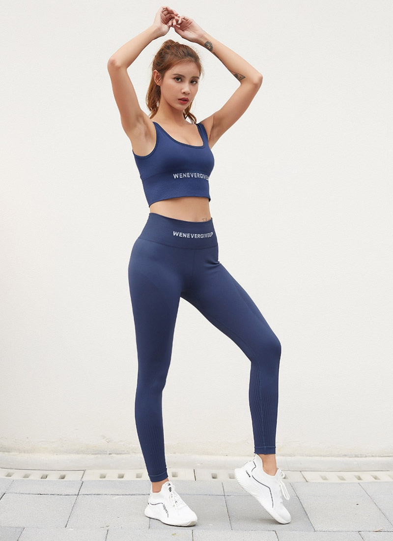 Astoria Seamless 'Never Give Up' Series Sports Crop - Navy
