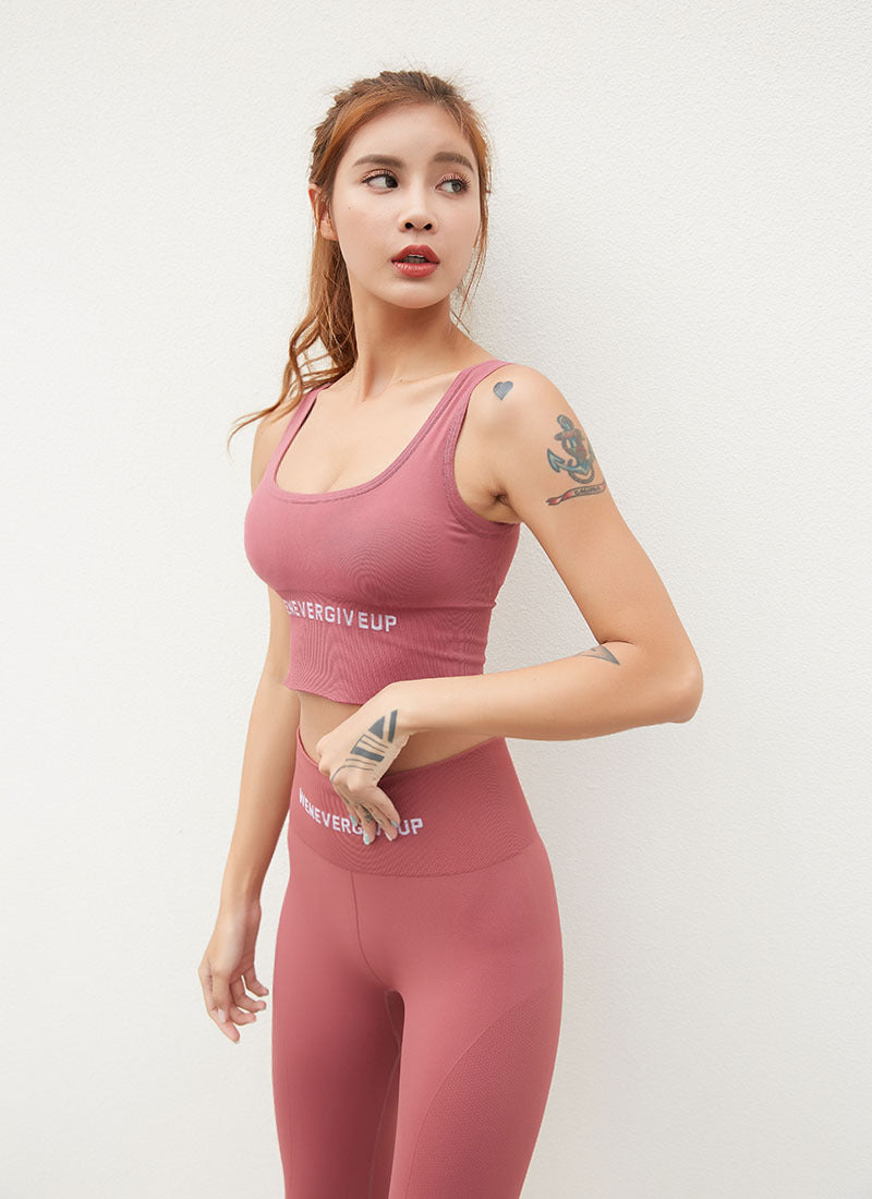 Astoria Seamless 'Never Give Up' Series Sports Crop - Pink