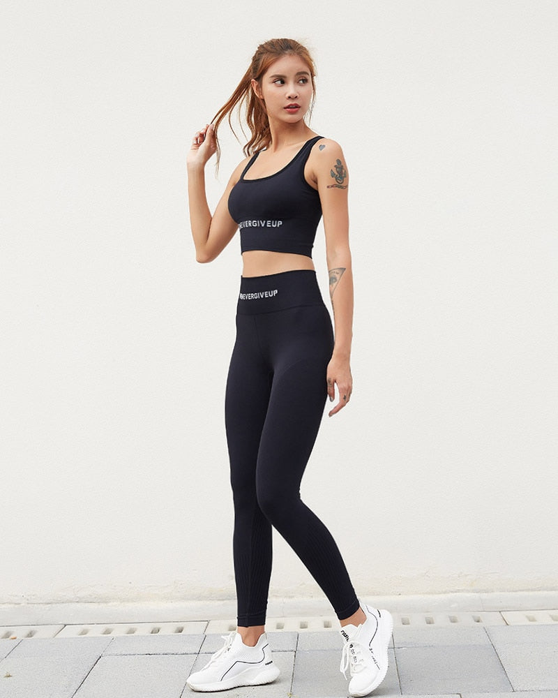 Astoria Seamless 'Never Give Up' Series Sports Crop - Black