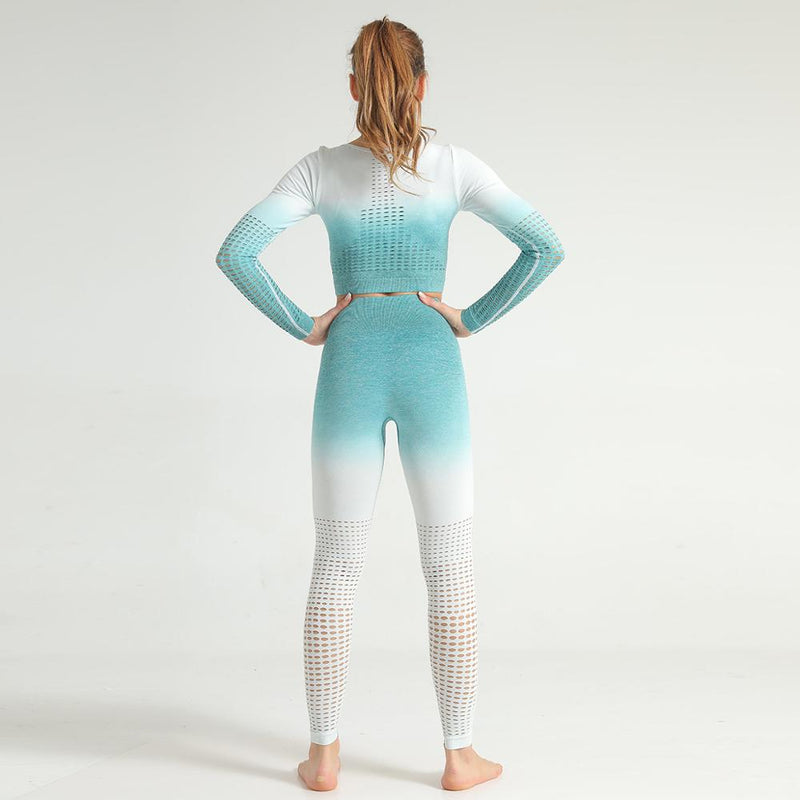 Astoria Seamless Ombre 2.0 Sleeved Crop - Teal