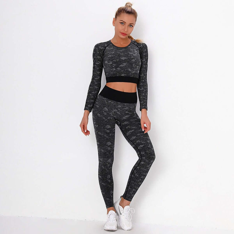 Astoria FLEX Sleeved Crop - Black/Grey