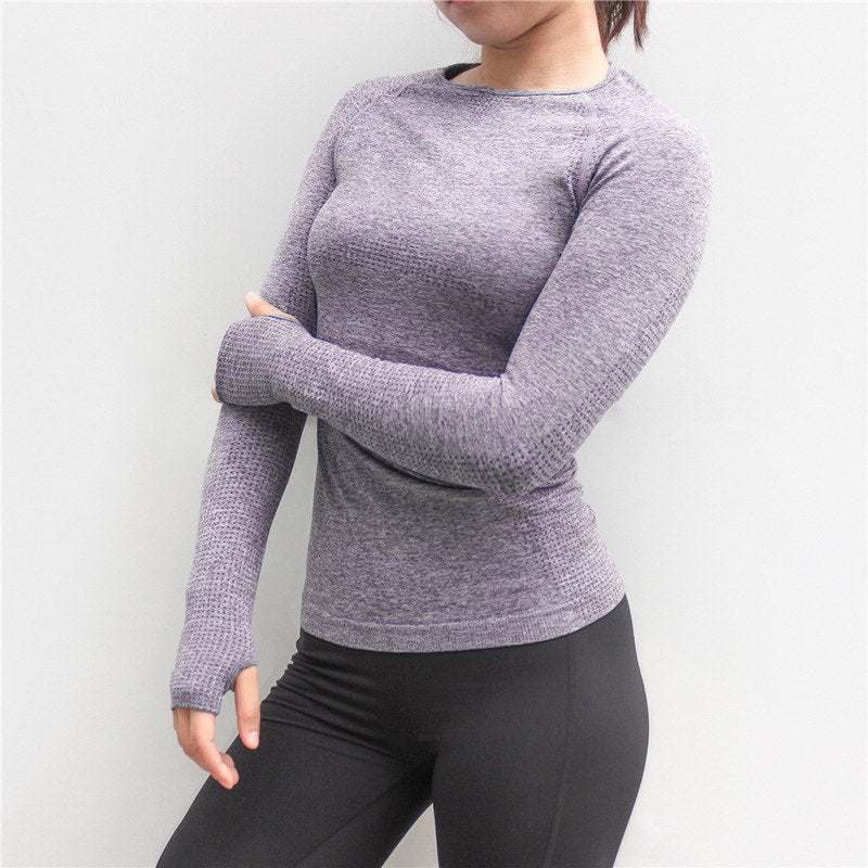 Astoria Seamless Full Length Sleeved Top - Purple Grey