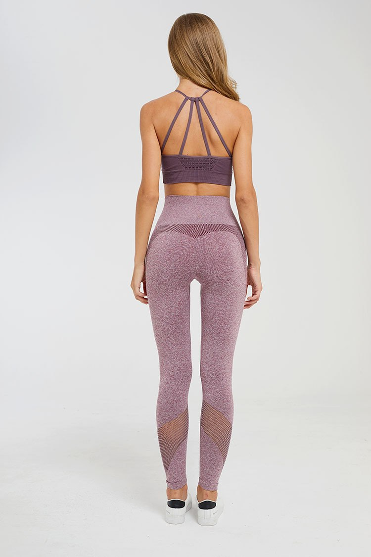 Astoria Seamless Mesh Full Length Legging - Purple Red