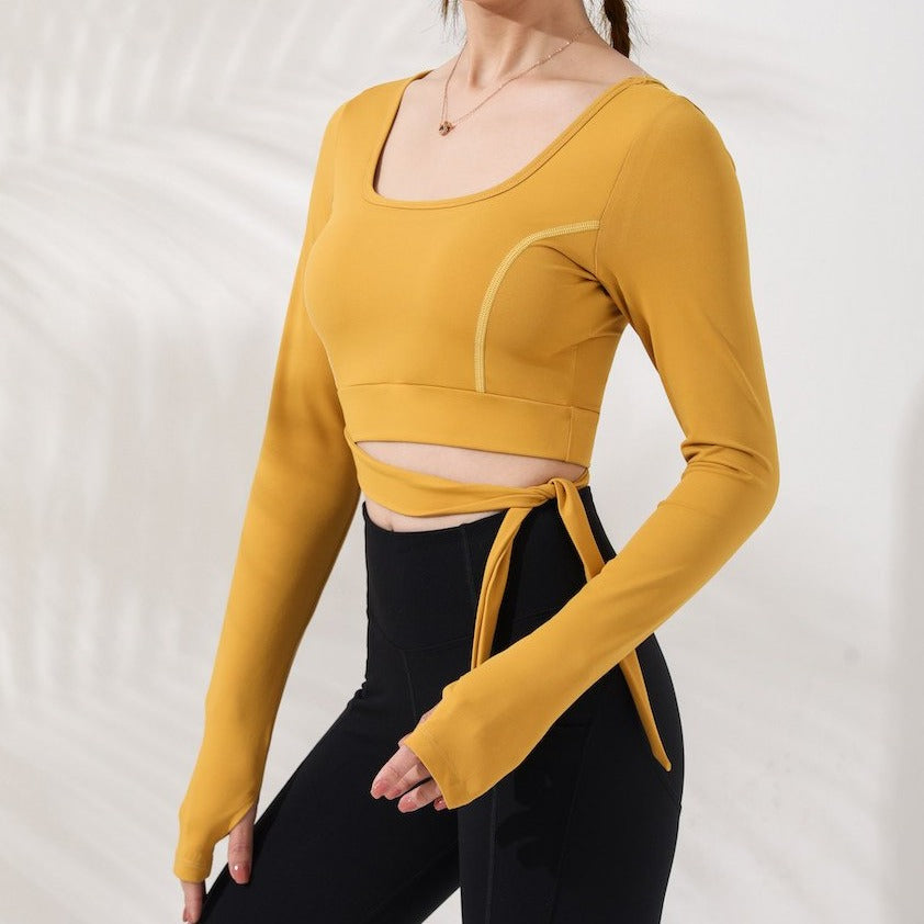 Astoria LUXE Bow Sports Crop - Sunshine Yellow