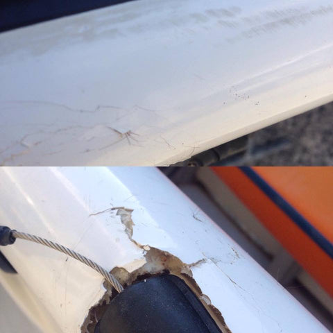 Above hairline cracks and below cracks around the rudder cable outlet