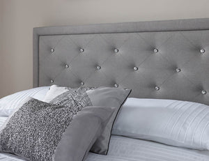 GFW Hollywood Stone Grey Fabric Ottoman Bed