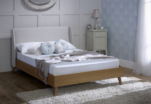 Limelight Bianca Oak and Grey Fabric Bed Frame