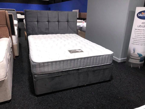 Budget Open Coil Mattress End Opening Ottoman Divan & Floor Standing Headboard