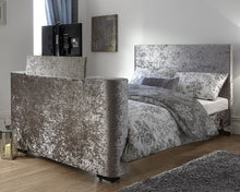 Load image into Gallery viewer, GFW Newark Steel Grey Crushed Velvet TV Bed