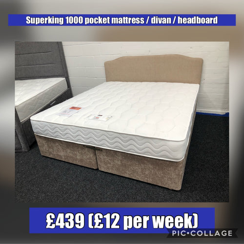 Superking Mattress, Divan & Headboard