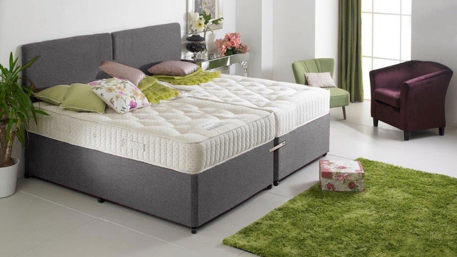 The Emperor Size Grey Chenille Divan Bed