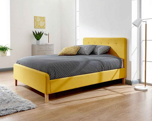 Ashbourne Mustard Upholstered Bed Double Only