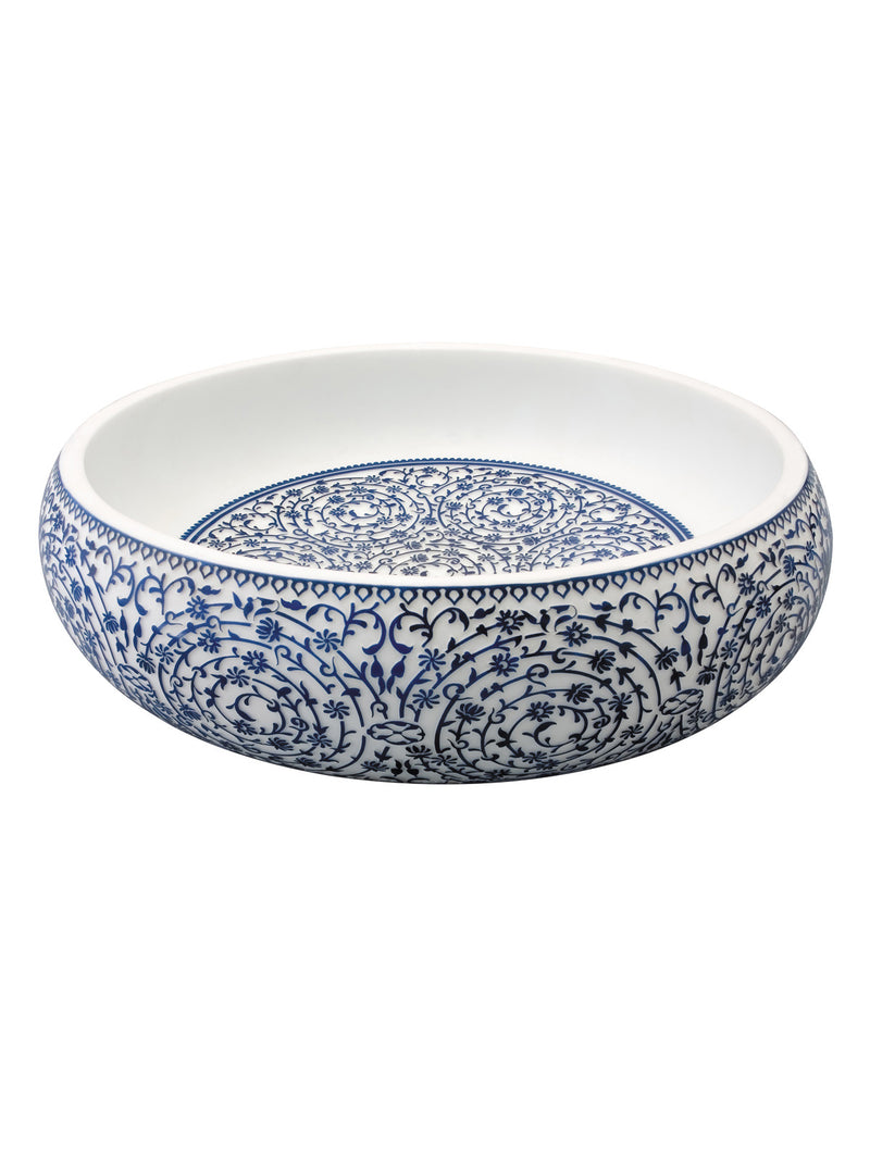 BLUE AND WHITE ON GLASS HALIC ICI BOWL