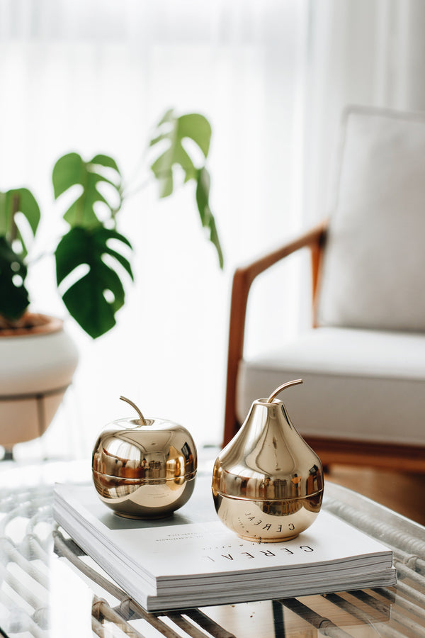 Apple & Pear Brass Object (Set Of 2)
