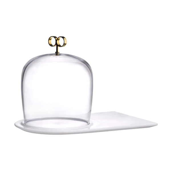 Nude Cupola Cake Dome with Brass Handle and Marble Base