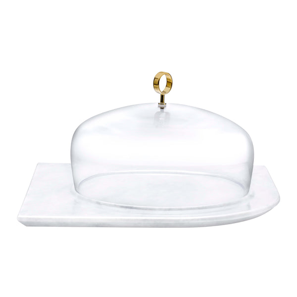 Nude Cupola Cake Dome Large with Brass Handle and Marble Base