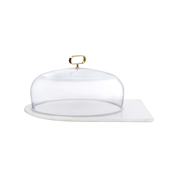 Nude Cupola Cake Dome Medium with Brass Handle and Marble Base