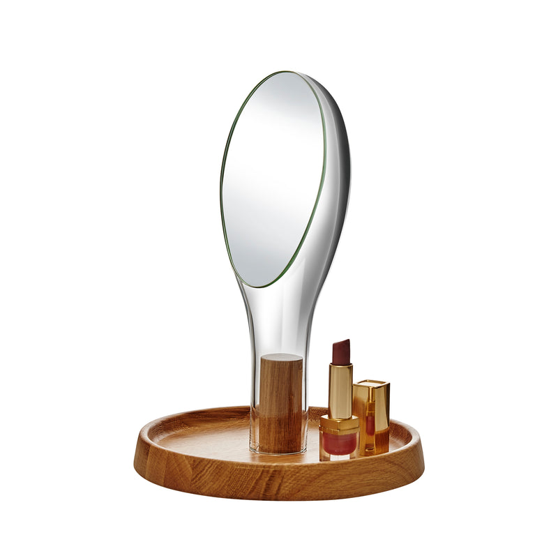 Nude Moon Mirror with Oak Stand