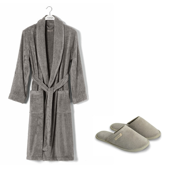 Ash Bathrobe & Slippers Set