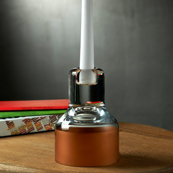 Nude Contour Candle Holder with Clear Top and Copper Base