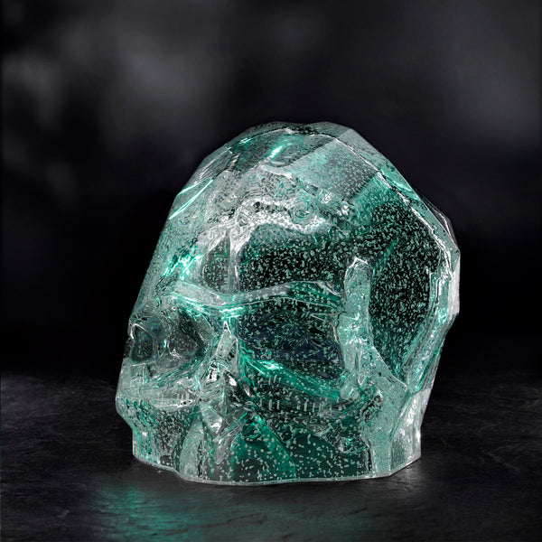 Nude Memento Mori Faceted Skull Luminous Green Large