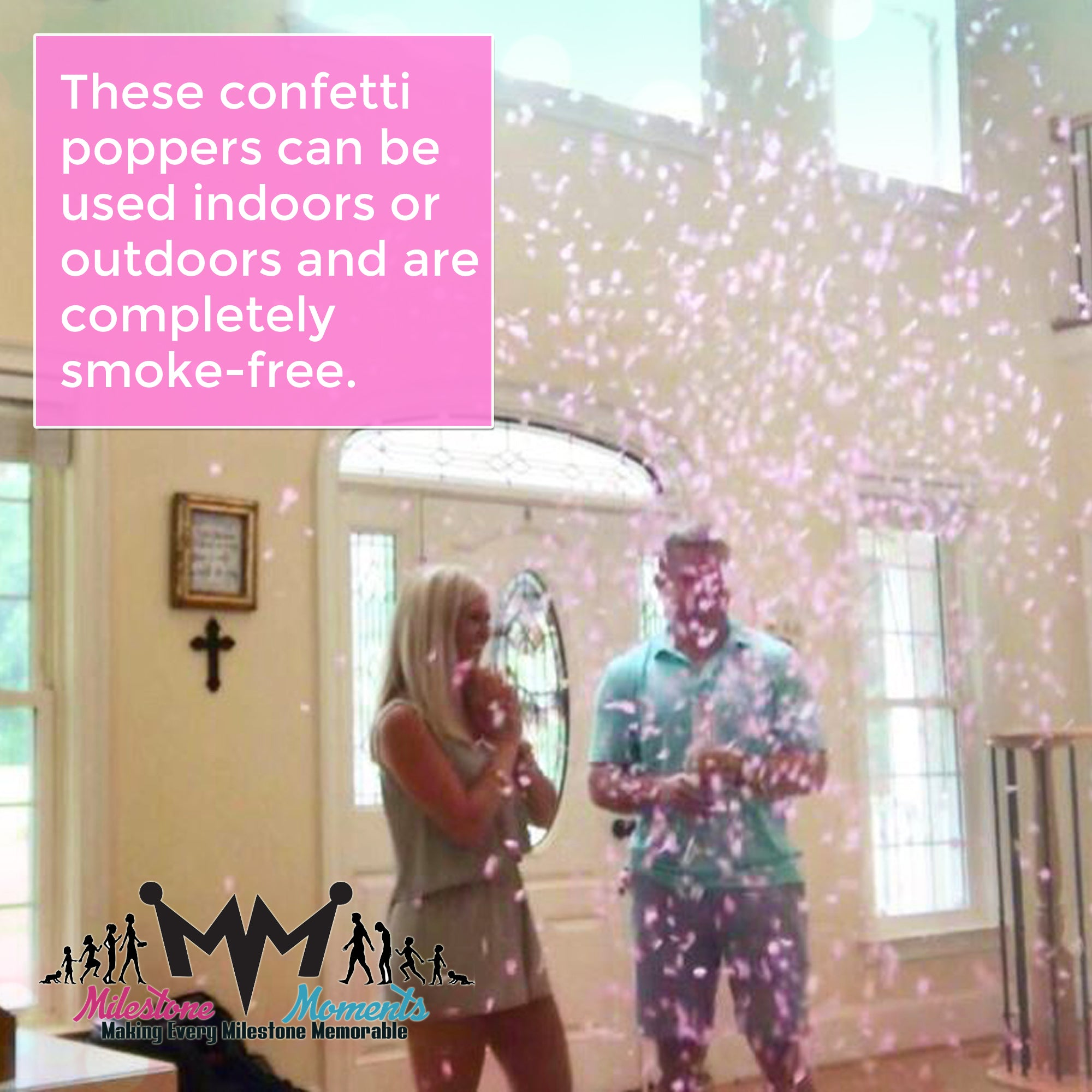 Gender Reveal Confetti Cannon Pink 2 Pack , Baby Reveal