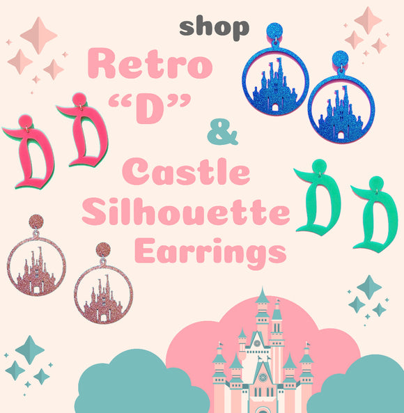 "Retro ""D"" & Castle Silhouette Earrings"