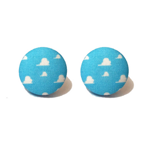 Andy S Room Toy Story Cloud Wallpaper Fabric Button Earrings