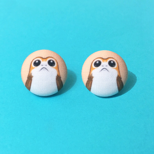Porg Inspired Fabric Button Earrings