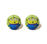 Toy Story Alien Inspired Fabric Button Earrings