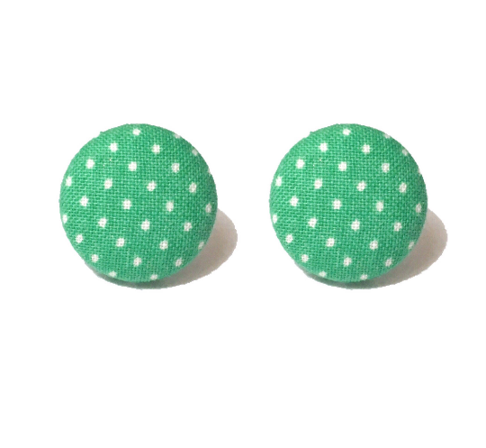 Aqua Dots Teal/Aqua and White Dainty Polka Dot Fabric Button Earrings