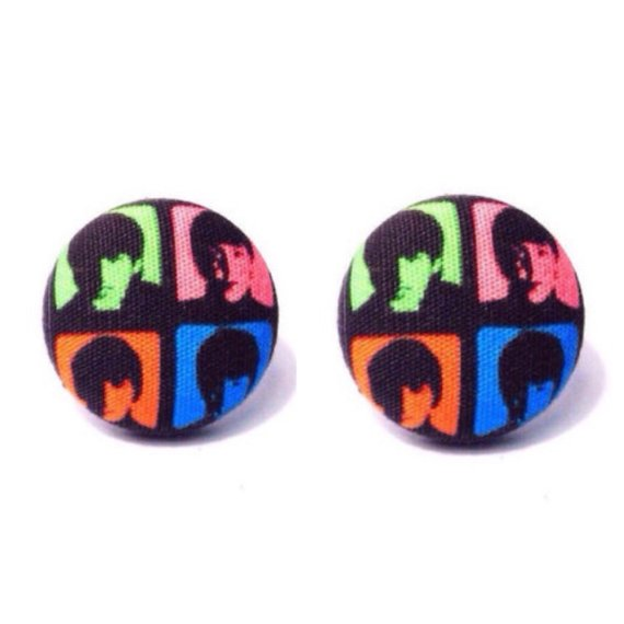 Beatles The Fab Four Fabric Button Earrings