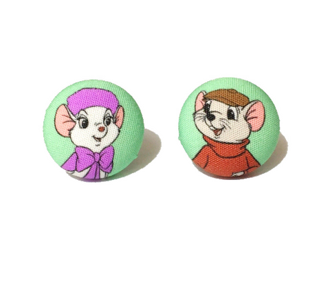 Bernard & Bianca Rescuers Inspired Fabric Button Earrings