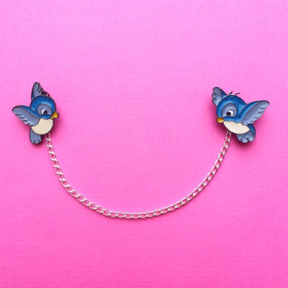Enchanted Blue Bird Collar Pins Or Sweater Guards