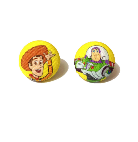 You've Got A Friend In Me Fabric Button Earrings