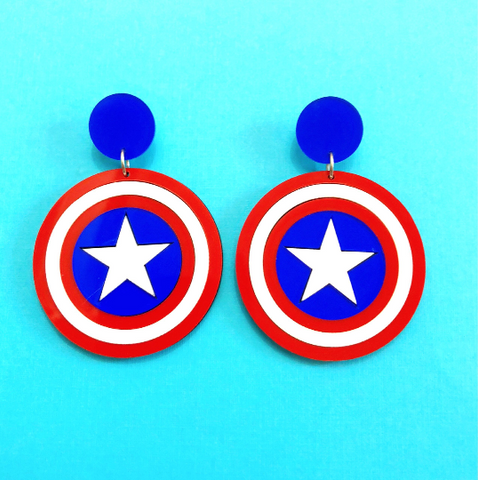 Captain America Shield Dangle Earrings