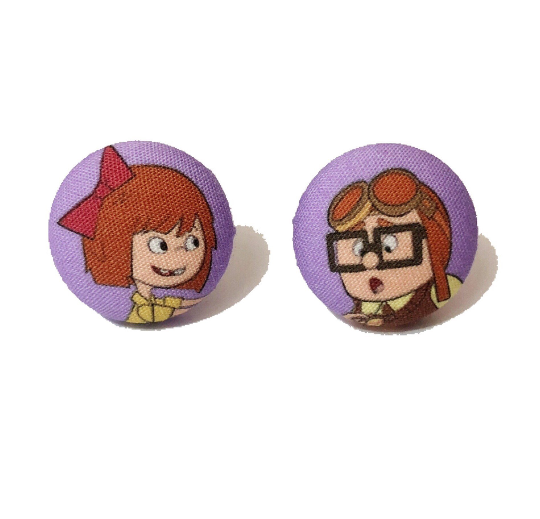 Adventure is Out There Fabric Button Earrings