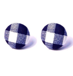 Charlotte Navy Plaid Gingham Print Fabric Button Earrings