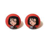 Edna Mode Incredibles Inspired Fabric Button Earrings
