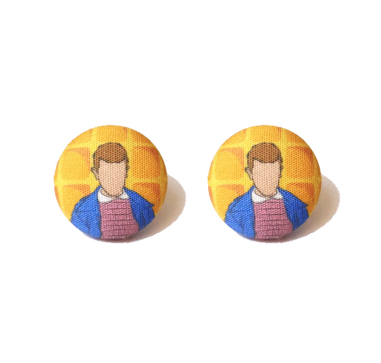 Eleven Stranger Things Inspired Fabric Button Earrings