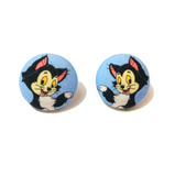 Figaro Cat Fabric Button Earrings