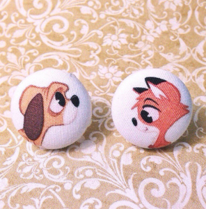 Young Tod & Copper Fox & the Hound Inspired Fabric Button Earrings