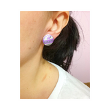 Grape Soda Fabric Button Earrings