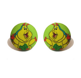 Heimlich Caterpillar Fabric Button Earrings