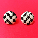 Victoria Houndstooth Black Fabric Button Earrings