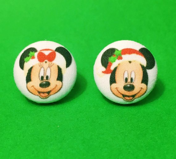 Minnie & Mickey Christmas Mouse Fabric Button Earrings