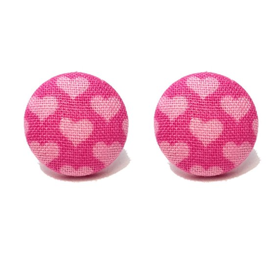 Pink Heart Fabric Button Earrings